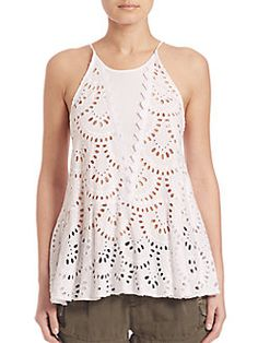 Free People - Starry Eyelet Tunic Tank Top