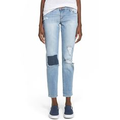 Junior STS Blue 'Rip & Repair' Boyfriend Jeans ($58) ❤ liked on Polyvore featuring jeans, echo cove, white destroyed boyfriend jeans, destructed boyfriend jeans, distressed jeans, relaxed fit boyfriend jeans and destroyed jeans
