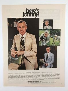 Vintage Magazine Ad, Johnny Carson Apparel, 1970s, Men's Fashion Ad, Astronomy Advertisement, Original Ad, Office or Den Wall Art by BarnabyGlenVintage on Etsy