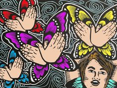 The Fluttering Butterfly Girl linocut with digital colors
