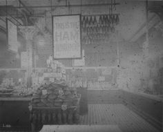 Home and Colonial Stores, Edgeware Road, London, ham department. March 1912. IET Archives NAEST 074/04/0092