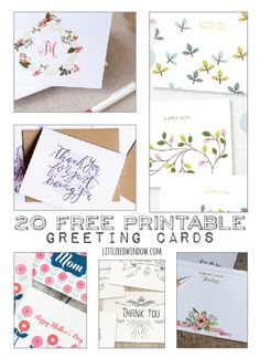 20 FREE Printable Greeting Cards for all occasions!  | littleredwindow.com