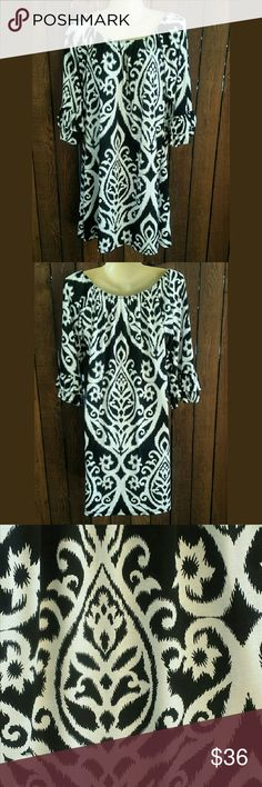 SALE✴DAMASK PRINT DRESS✴- NEW ✴Flowy and comfy dress  ♥Damask print  ✴True to size  ♥Large size (9/10-11/12) ♥96 % polyester  ✴4 % spandex  ✴So pretty in person. You will love this♥❤✌ BOTIQUE  Dresses Midi