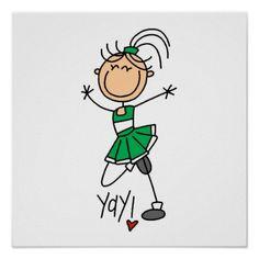 Stick Figure Cheerleader Clip Art | Green Stick Figure Cheerleader t-shirts and Gifts Print