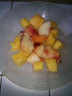 Good morning !!!! Fresh fruits salad !!! (mango and peach) #EatClean