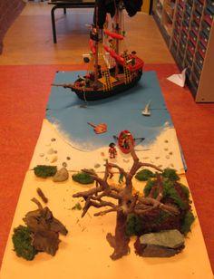 Nutsschool Maastricht: pirate playmobil small world. Pirate Activities, Sensory Activities, Role Play Areas, Sensory Tubs, Small World Play, Kindergarten Classroom, Physics Classroom, Ocean Crafts, Three Little Pigs