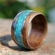 Bentwood Walnut, Turquoise and Sliver Ring (or bracelet)