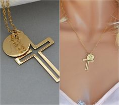 Personalized Cross Necklace, Gold Cross Necklace with Initial Disc and Birthstone, Name Cross Necklace, Gift For Her, Cross Necklace Women by malizbijoux. Explore more products on http://malizbijoux.etsy.com