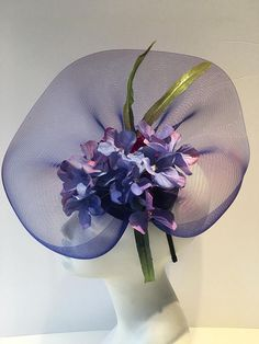 High Tea Fascinator- Blue hat- wedding Fascinator -Easter Bonnet- Easter Parade Hat- Hydrangea Flower Headband- Derby- Spring Headband- NYC Derby- Grand Prix Hello,  This horse hair netting/ fascinator has a 5 inch hydrangea and a zinnia in the center. The piece is about 13 inches wide buy 10 inches.  (Its not really horse hair, but in the 1800s it was woven from horse hair and the name stuck) Its on a skinny 1/8 inch matching satin covered headband that is adjustable to fit any hea...