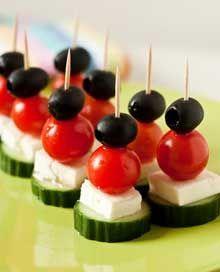 Yum, easy healthy snack- cucumber, mozerella, tomatoe, olive
