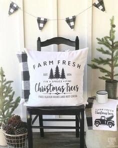 farm fresh christmas trees farmhouse pillow cover - Farmhouse Christmas Decor Pinterest