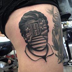 """@aj_tattoo Black and Grey Surreal Portrait Tattoo  @wa_ink_tattoo"""""""