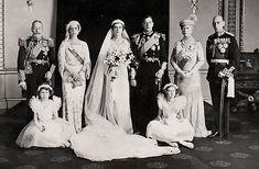 The Kent wedding 1934 - the couple with their parents the King and Queen, Prince and Princess Nicholas of Greece, and two little York princesses