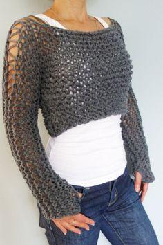 Knitting Pattern  Andra Cropped Thumb Hole Sweater/