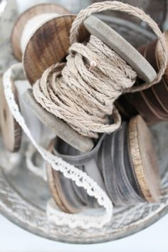 Spools of thread in neutral colours Little Mercerie, Vibeke Design, Ivy House, Wooden Spools, Lace Ribbon, Vintage Sewing, Vintage Crafts, Vintage Lace, Textiles