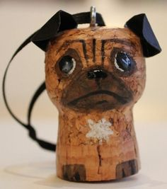 Awe, how creative! A wine cork pug! I have got to find more cork crafts. Wine Craft, Wine Cork Crafts, Wine Bottle Crafts, Wine Cork Ornaments, Wine Cork Projects, Wine Cork Art, Champagne Corks, Champagne Cork Crafts, Wine Bottle Corks