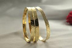 Bracelets Sets Hammered Bangles Sets 3 Solid 14k GOLD