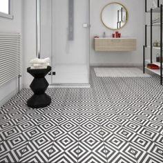Carrelage Sol Et Mur Noir Blanc Effet Ciment Dément L X L Cm - Carrelage sol salle de bain leroy merlin