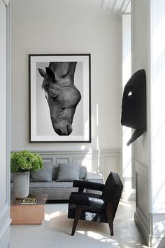 Modern Equestrian Decor Ideas to Flow Seamlessly With Your Home - The Plaid Horse Magazine Equestrian Decor, Western Decor, Equestrian Style, Living Room Art, Living Room Interior, Horse Posters, Black And White Wall Art, Black White, Modern Farmhouse Decor