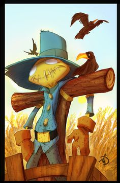 Illustration by Tad Lambert, via Behance. Cutest wittle scarecrow I've EVER seen! <3