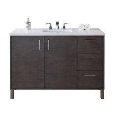 """Cordie 48"""" Single Silver Oak Wood Base Bathroom Vanity Set"""