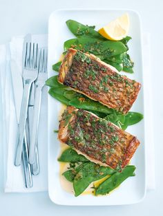 pan-fried fish with brown butter and parsley (Donna Hay's recipe)