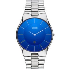 Storm London Slim-X X L Laser Blue Men's Bracelet Watch:  The STORM Slim XXL is an ultra sleek piece, where the bright blue dial and date display compliments the minimalist look perfectly. This watch is also 50 metres watch resistant and has many more other features.