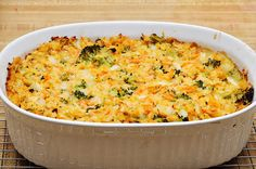Chickpea and broccoli casserole -- I omitted oil and used water w/veggie bouillon because I didn't have veggie broth; used broccoli, green beans, carrots, corn, and onion; added red pepper flakes and topped with nutritional yeast for a cheesy flavor.