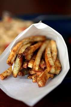 homemade french fries...so easy and no frying necessary -   Reminds me of when my mom made these.  She would fry them & then put them in a grocery bag to shake off the excess oil & to salt them.