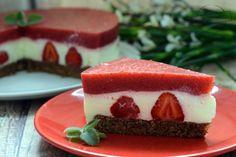 Ciasto z truskawkowąmasą na spodzie z sucharków i nutelli – Smaki na talerzu