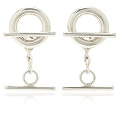 MONSE Circle Bar Earrings ($250) ❤ liked on Polyvore featuring jewelry, earrings, silver, silver chain jewelry, circular earrings, silver earrings, silver jewellery and silver chain earrings