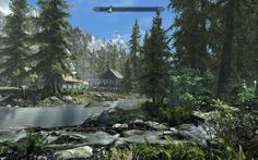 Elder Scrolls: Skyrim - Action RPG Open world fantasy environment, bright lighting, lots of foliage and rocky ground, wooden structures  http://www.nexusmods.com/skyrim/mods/10144/?tab=3&navtag=http%3A%2F%2Fwww.nexusmods.com%2Fskyrim%2Fajax%2Fmodimages%2F%3Fid%3D10144%26user%3D1 (3AMt and Daemon White, 2012)