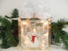 Lighted Glass Block Snowman Snow Scene 5 3/4 x 5 3/4 x 3 1/4 Hand Painted. $35.00, via Etsy.
