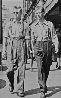 Ken and his brother Bert, = high waists and suspenders 1940s Mens Fashion, Vintage Fashion, Fashion Top, Fashion Shoes, Fashion Jewelry, Pubs In London, Retro Mode, Guys And Dolls, Mode Editorials
