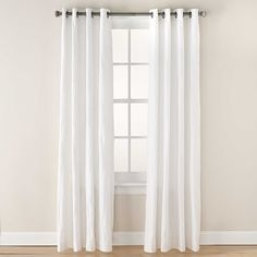 Tangent 84-Inch Grommet Top Window Curtain Panel in White