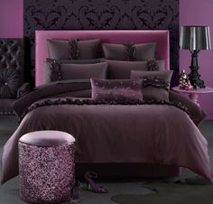 Alexsandra Aubergine Quilt Cover & Pillowcase Set By Glamour Collection Home Bedroom, Bedroom Decor, Bedroom Ideas, Master Bedroom, Queen Bed Quilts, Flannelette Sheets, Purple Bedrooms, Gold Home Decor, Teenage Room