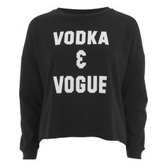 """MINKPINK Women's """"Vodka And Vogue"""" Placement Print Sweater ($70) ❤ liked on Polyvore featuring tops, sweaters, black, cotton sweater, oversized sweaters, cotton crewneck sweater, oversized black sweater and long sleeve jumper"""
