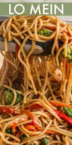 Vegetable Lo Mein Recipe - Valentina's Corner - The ultimate lo mein recipe made with egg noodles loaded with mushrooms, broccoli, pepper, and carrots tossed in a sweet and savory sauce. Easy vegetable lo mein recipe ready in just 15 minutes! Homemade Chinese Food, Chinese Chicken Recipes, Easy Chinese Recipes, Asian Recipes, Beef Recipes, Cooking Recipes, Ethnic Recipes, Chinese Desserts, Chinese Shrimp Lo Mein Recipe