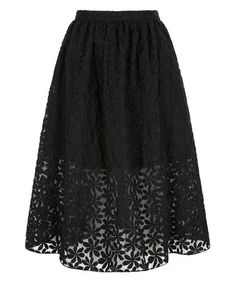 Another great find on #zulily! Black Lace Midi Skirt #zulilyfinds