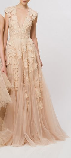 nude lace gown from Reem Acra Resort 2013