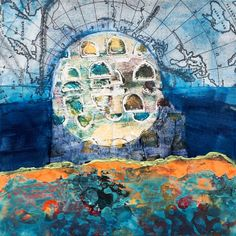 Mixed media collage painting  Moon by Jill Berry - vellum map, gel skin, gelli-printed papers