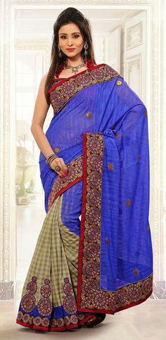 USD 79.3 Parple and Brown Silk Wedding Saree 29851
