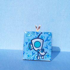 GIR - booty shaking - wood tile pendant. $3.95, via Etsy.