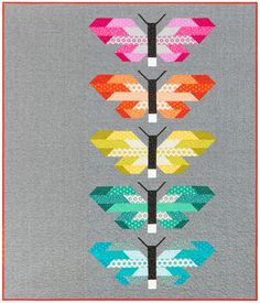 Sewing Pattern, Elizabeth Hartman, Frances Firefly Quilt Kit , Fabricworm brings you the latest in Modern fabrics! Quilting Tutorials, Quilting Projects, Quilting Designs, Quilt Design, Quilting Ideas, Foundation Paper Piecing, Elizabeth Hartman Quilts, Quilt Modernen, Butterfly Quilt