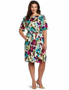 Jessica Howard Women's Plus-Size Floral Blouson Dress