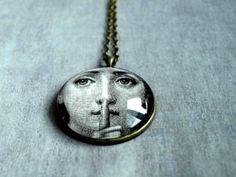 Fornasetti Necklace Pendant - Large Long Pendant - Woman Face Fornasetti Glass pendant - geeky art pendant- Art Deco jewelry