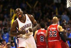 Oklahoma City's Serge Ibaka (9) celebrates a basket during the NBA game between the Oklahoma City Thunder and the Chicago Bulls at Chesapeake Energy Arena in Oklahoma City, Sunday, Feb. 24, 2013. Photo by Sarah Phipps, The Oklahoman