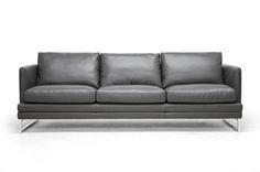 Baxton Studio Dakota Pewter Gray Leather Modern Sofa | Wholesale Interiors