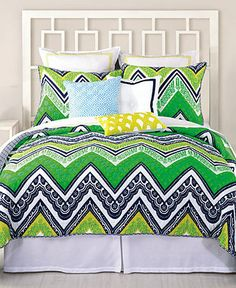Trina Turk Bedding, Tangier Stripe Coverlet Collection - Trina Turk - Bed & Bath - Macys - love the preppy green and navy!