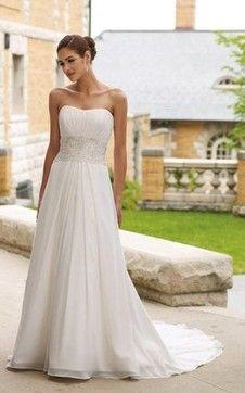 Perlenbesetztes zeitloses Gericht Schleppe A-Linie trägerlos Brautkleid mit Drapierung